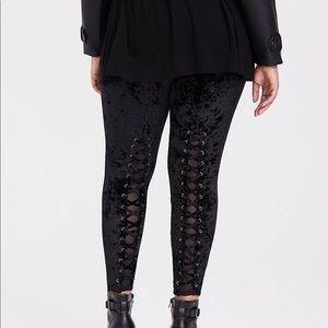 TORRID Black Lattice Mesh Velvet Leggings
